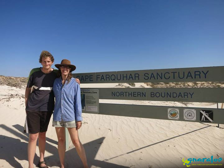 Brendan and Karen posing next to the Cape Farquhar Sanctuary sign