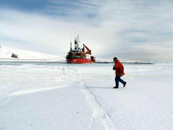 Researcher On The Icefield And French Polar Ship (from IPEV)