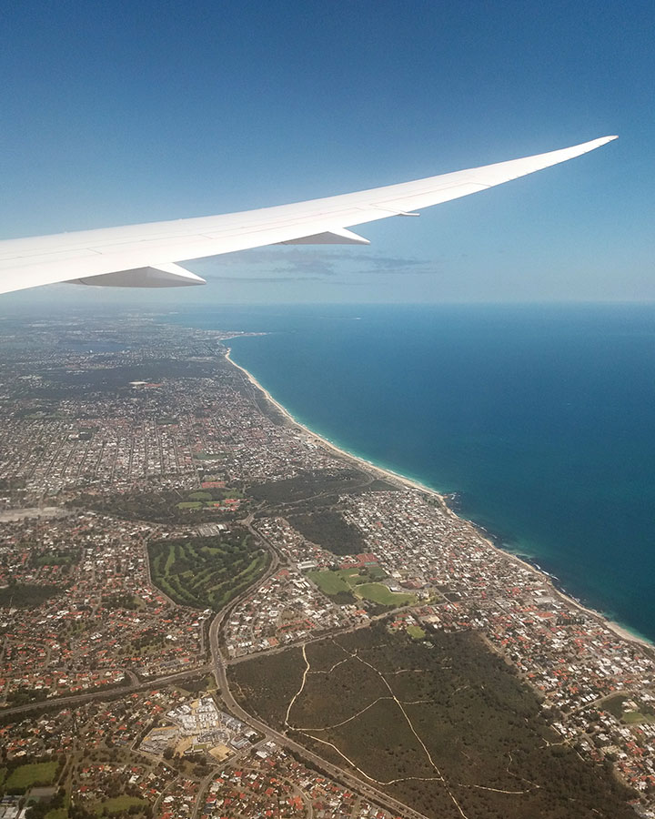 View from the aeroplane above Perth