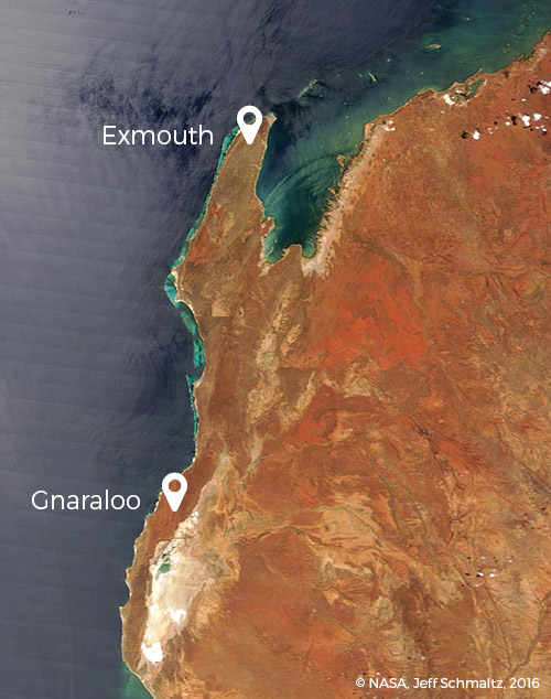 Satellite view: Gnaraloo - Exmouth