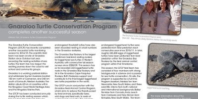Gnaraloo Turtle Conservation Program completes another successful season