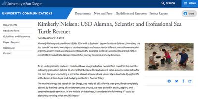 Kimberly Nielsen: USD Alumna, Scientist and Professional Sea Turtle Rescuer