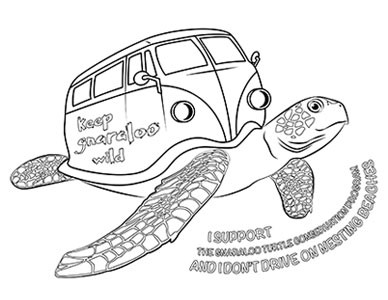 Combi van sea turtle colouring page