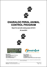 Gnaraloo Feral Animal Control Program – Report 2012/13