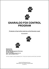 Gnaraloo Fox Control Program – Report 2010/11