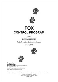 Gnaraloo Fox Control Program – Report January 2009